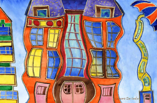 Painting - Fanciful Wavy House Painting by Lenora  De Lude