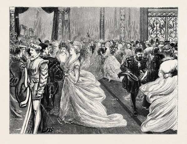 Manchester Drawing - Fancy Ball At Manchester, 1870 by English School