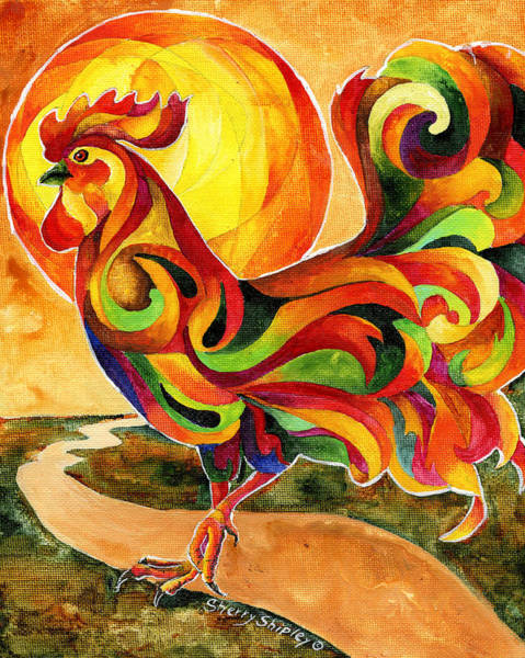 Painting - Fancy Feathers Rooster by Sherry Shipley