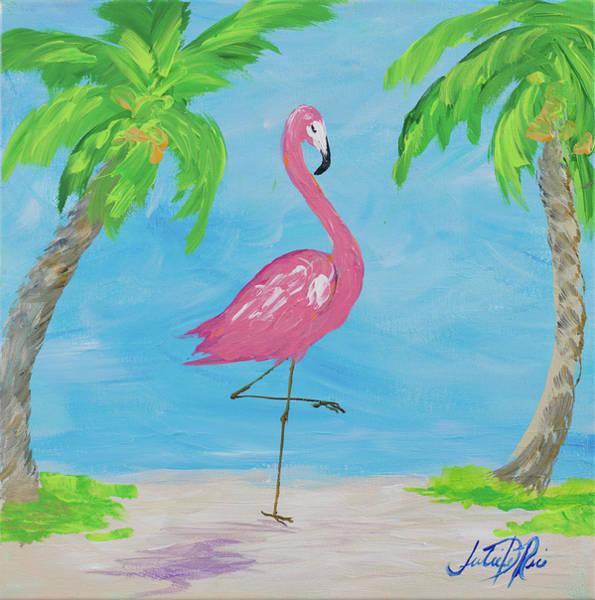 Palm Trees Digital Art - Fancy Flamingos I by Julie Derice