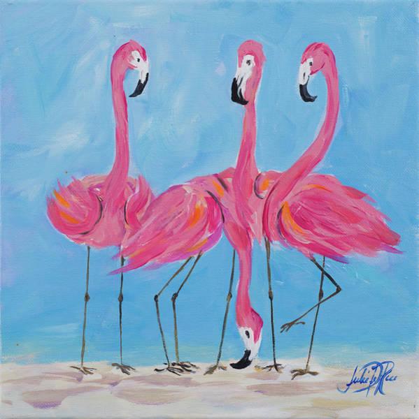Palm Trees Digital Art - Fancy Flamingos II by Julie Derice