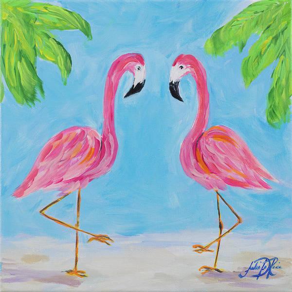 Palm Trees Digital Art - Fancy Flamingos IIi by Julie Derice