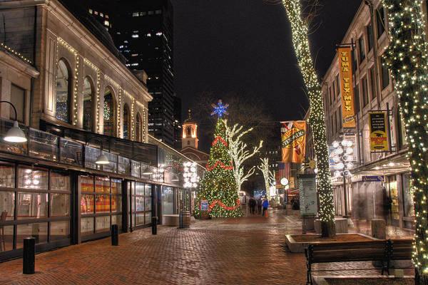 Photograph - Faneuil Hall Holiday Lights by Joann Vitali
