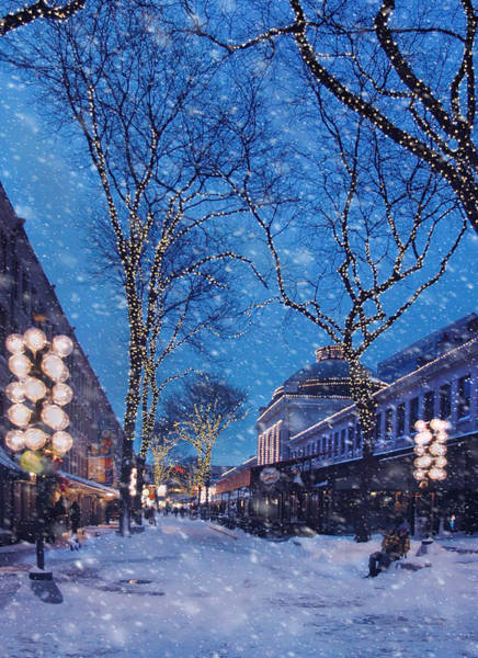 Photograph - Faneuil Hall Winter Snow - Boston by Joann Vitali