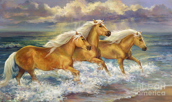 Sea Oats Painting - Fantasea Ponies by Laurie Snow Hein