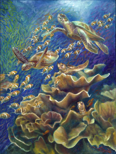 Wall Art - Painting - Fantastic Journey - Turtles by Nancy Tilles