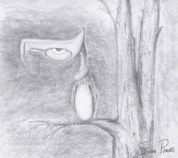 Drawing - Fantasy Crow by Steven Powers SMP