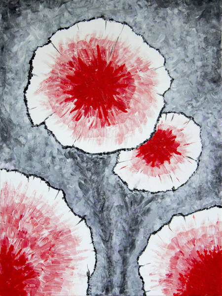 Painting - Fantasy Flowers In Red No 1 by Ben Gertsberg