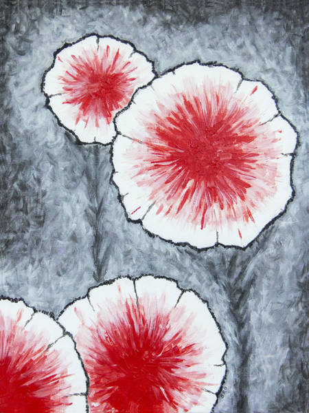 Painting - Fantasy Flowers In Red No 2 by Ben Gertsberg