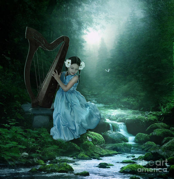 Harp Digital Art - Fantasy Forest by Jessica Allain