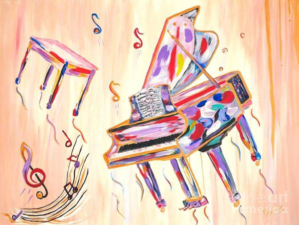 Grand Piano Painting - Fantasy Impromptu by Phyllis Kaltenbach
