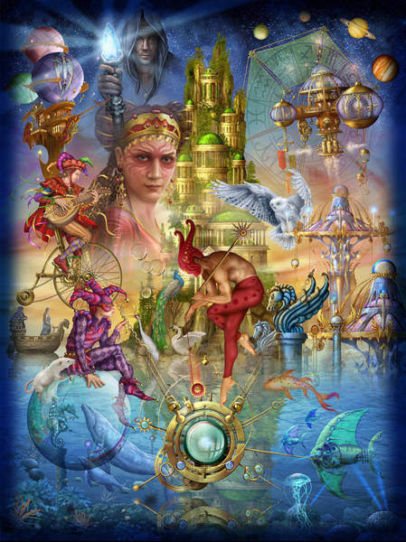 Aqua Satellite Digital Art - Fantasy Island by MGL Meiklejohn Graphics Licensing