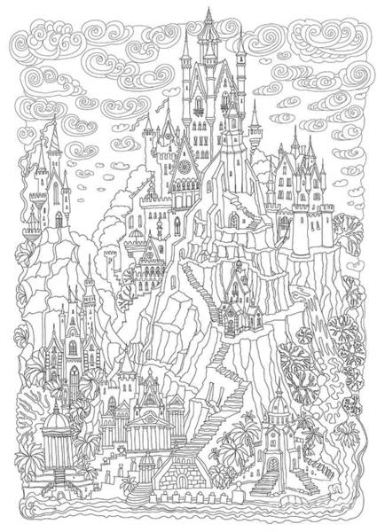 Vertical Line Digital Art - Fantasy Landscape. Fairy Tale Castle On by L. Kramer
