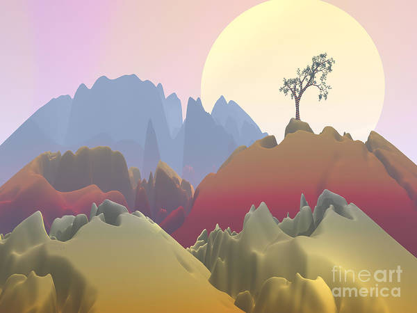 Fractal Landscape Digital Art - Fantasy Mountain by Phil Perkins