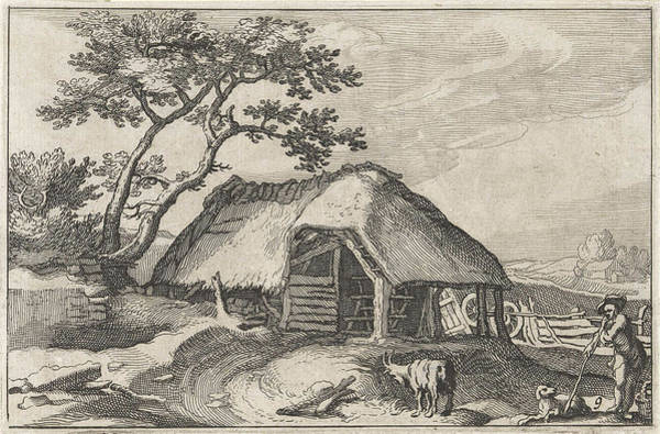 Herd Drawing - Farm And Shepherd With Dog And Goat by Claes Jansz. Visscher (ii) And Abraham Bloemaert And Bo?tius Adamsz. Bolswert