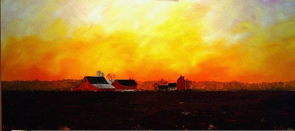 Farm At Dawn Art Print