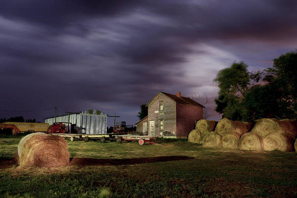 Photograph - Farm At Night by David Matthews