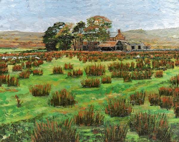 Farmstead Photograph - Farm Cumbria, 2008 Oil On Canvas by Trevor Neal