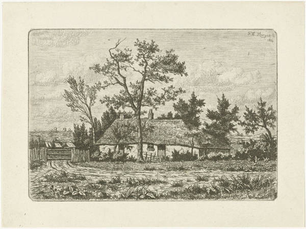 Homestead Drawing - Farm, F. W. Meyer Engraver by F. W. Meyer