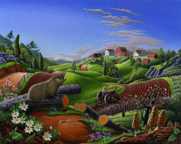 Old South Painting - Farm Folk Art - Groundhog Spring Appalachia Landscape - Rural Country Americana - Woodchuck by Walt Curlee