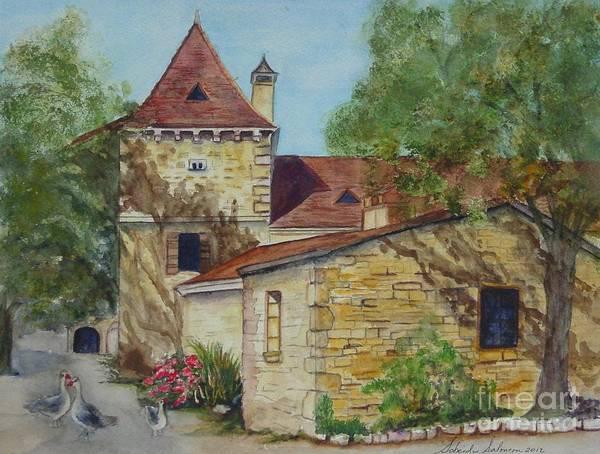 Southern France Painting - Farm House In Beynac France by Sobeida Salomon