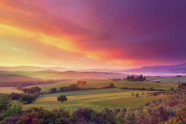 Villa Photograph - Farm In Tuscany At Dawn by Mammuth