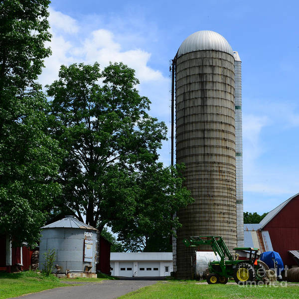 Wall Art - Photograph - Farm - John Deere Tractor And Silos by Paul Ward