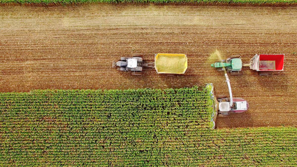 Farm Machines Harvesting Corn In September, Viewed From Above Art Print by JamesBrey