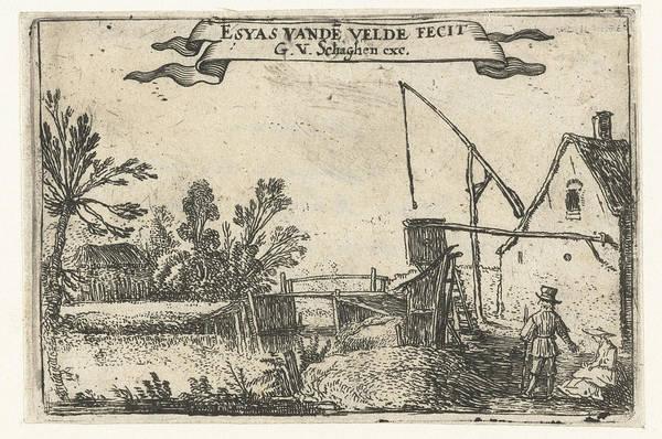 Interpret Drawing - Farm Near A Channel, Esaias Van De Velde by Esaias Van De Velde