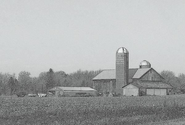 Developed Drawing - Farm Of Newaygo County Michigan by Rosemarie E Seppala