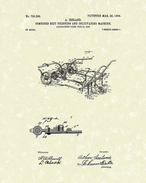 Beet Wall Art - Drawing - Farm Tool 1904 Patent Art by Prior Art Design