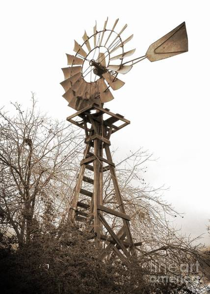 Photograph - Farm Windmill In Sepia by Carol Groenen