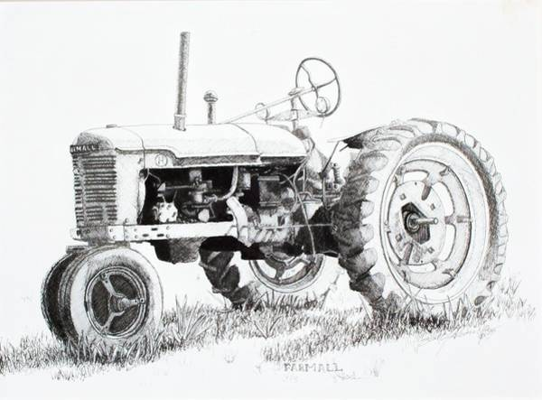 Old Tractor Drawing - Farmall by Scott Alcorn