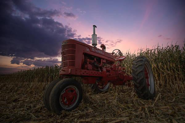 Cornfield Photograph - Farmall Sunset by Aaron J Groen