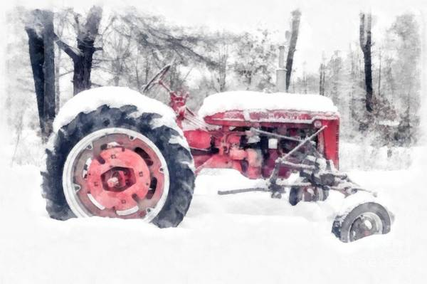 New England Barn Photograph - Farmall Super C Tractor In Winter Watercolor by Edward Fielding