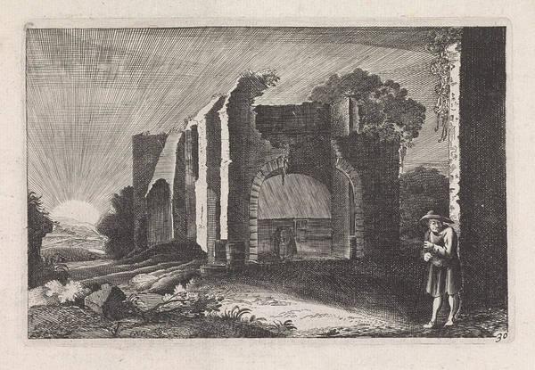 Twilight Drawing - Farmer At A Ruin, Claes Jansz Visscher II by Claes Jansz Visscher Ii