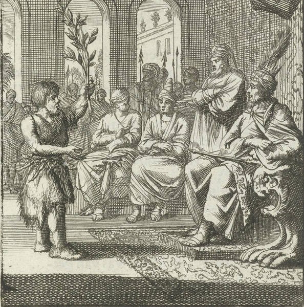 Olive Branch Drawing - Farmer Speaks With An Olive Branch In Hand To The Prince by Quint Lox