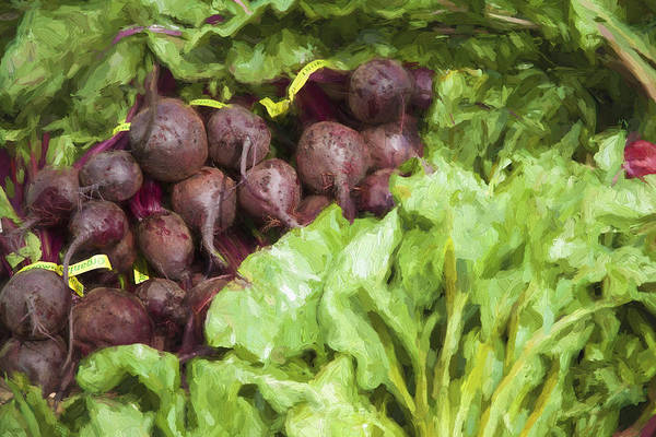 Beet Wall Art - Digital Art - Farmers Market Beets And Greens by Carol Leigh
