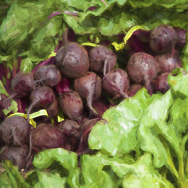 Beet Wall Art - Digital Art - Farmers Market Beets And Greens Square by Carol Leigh