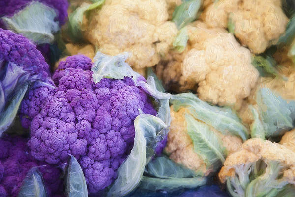 Market Wall Art - Digital Art - Farmers Market Purple Cauliflower by Carol Leigh