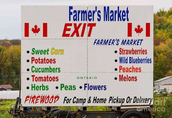 Photograph - Farmer's Market Sign by Les Palenik