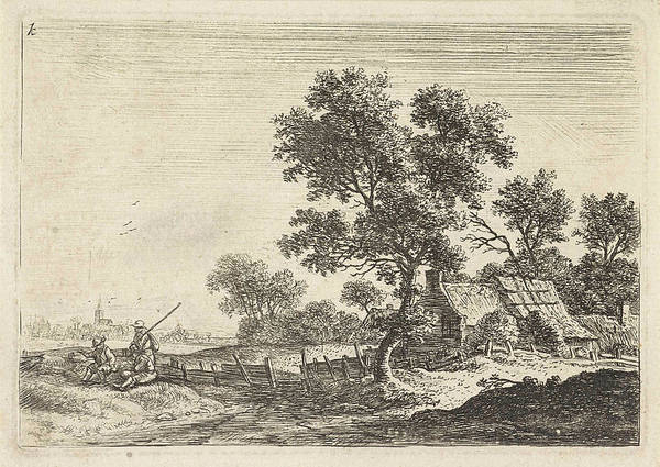 Wall Art - Drawing - Farmers On A Hill, Anthonie Waterloo by Anthonie Waterloo
