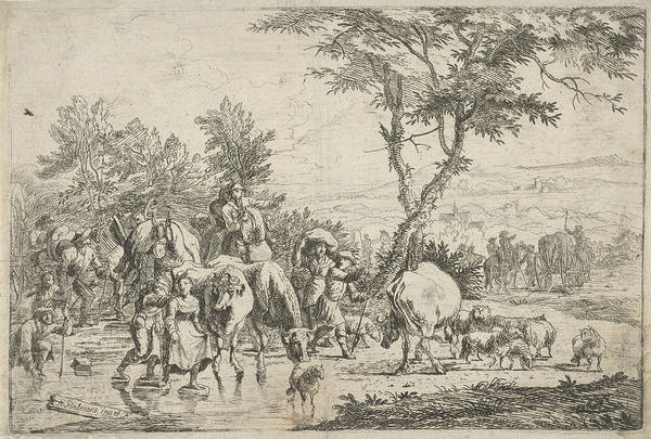 Herd Drawing - Farmers Stabbing A Creek With Their Flock by H. Pielmans