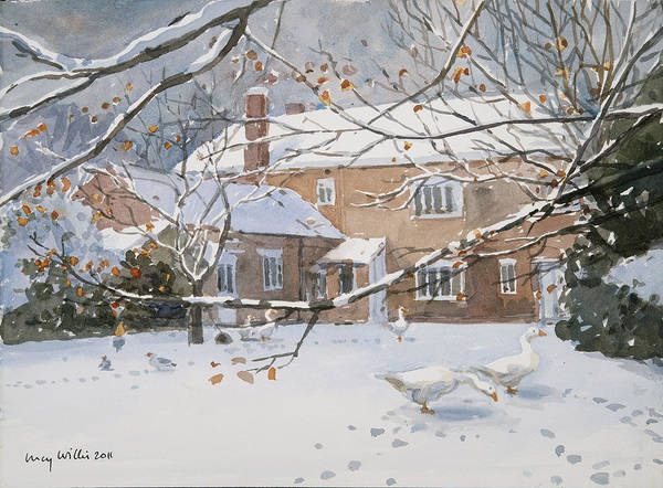 Wall Art - Painting - Farmhouse In The Snow by Lucy Willis
