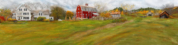 Painting - Red Barn Art- Farmhouse Inn At Robinson Farm by Lourry Legarde