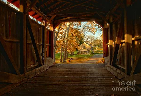 Photograph - Farmhouse Through The Poole Forge Covered Bridge by Adam Jewell