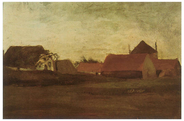 Twilight Drawing - Farmhouses In Loosduinen Near The Hague At Twilight by Vincent van Gogh