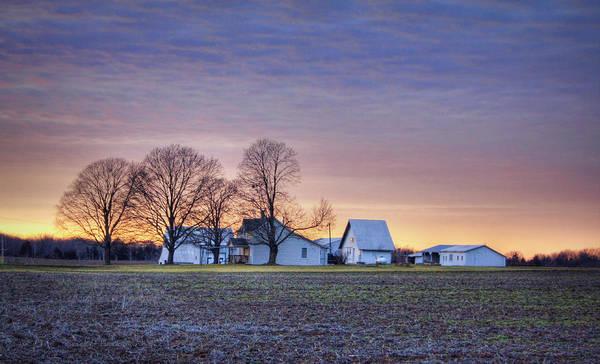 Farmstead At Sunset Art Print