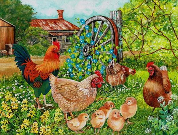 Painting - Farmyard Family by Val Stokes