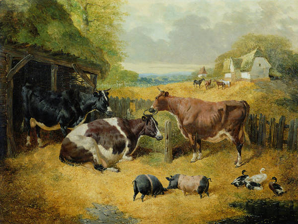 Barnyard Animal Painting - Farmyard Scene by John Frederick Herring Snr